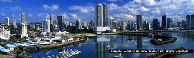 Panama City Skyline (about 2003) -- Areas of Balboa Boulevard, Yacht club,  Bay of Panama, new Miramar Hotel and Condominium complex (two high towers and two adjacent towers in center of photo), banking area in Marbella, and Paitilla residential and business area [Photo courtesy of Inteoceanic Region Authority (ARI) from its website, www.ari.gob.pa]
